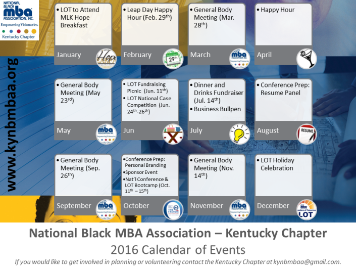 2016 Calendar Kentucky Chapter